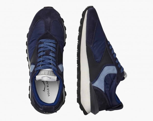 QWARK WOMAN - Suede and technical fabric sneakers - Navy