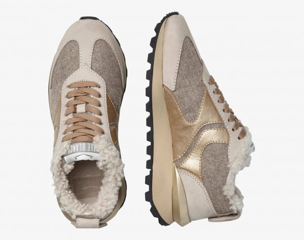 QWARK FUR WOMAN - Shearling-lined Nubuck leather and felt sneakers - Beige