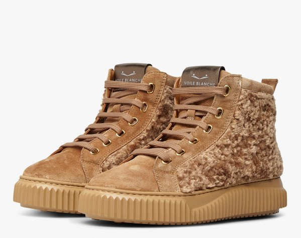 AMICE - Suede and faux shearling sneakers - Tobacco