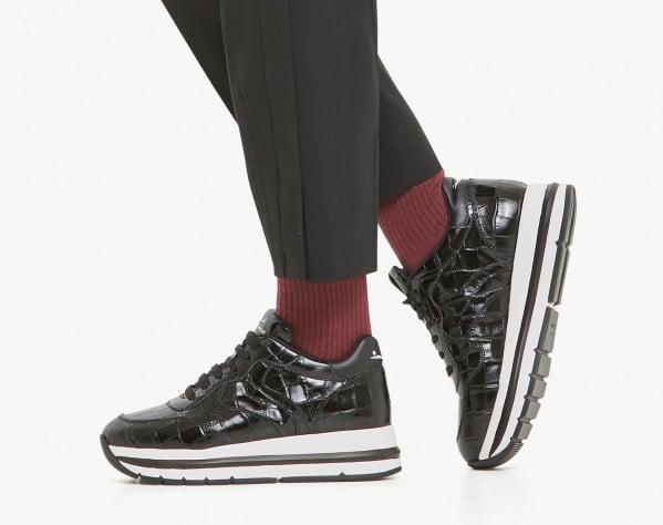 MARAN - Crocodile-print calfskin sneakers - Black