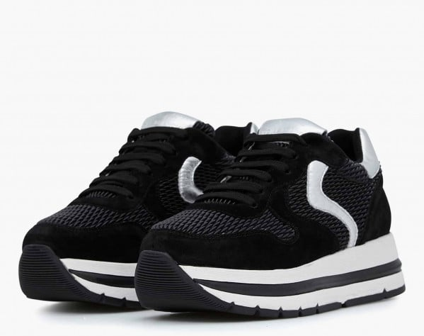 MARAN - Suede and velvet-knit sneakers - Black/Silver