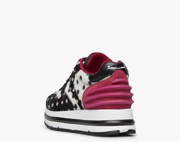 MARAN POWER - Polka dot pony hair sneakers - Black/White