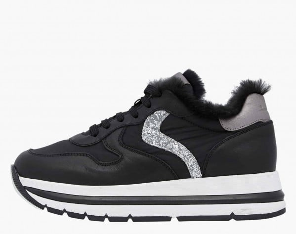MARAN FUR - Rabbit fur insert-embellished calfskin sneakers - Black/Silver