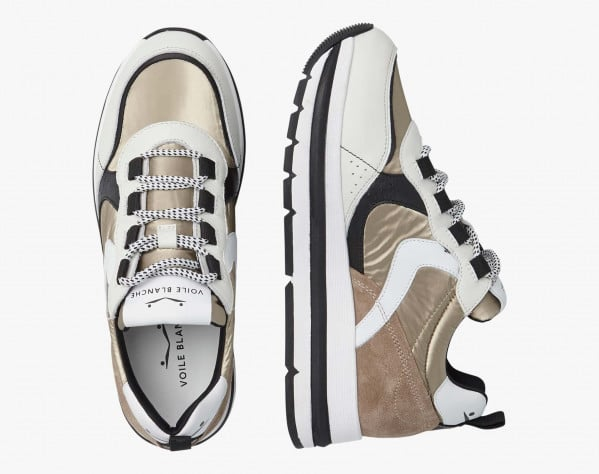 MARPLE - Coated fabric and calfskin sneakers - Ice/Platinum