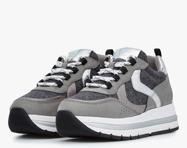 MARPLE - Felt and Nubuck leather sneakers - Grey/Charcoal