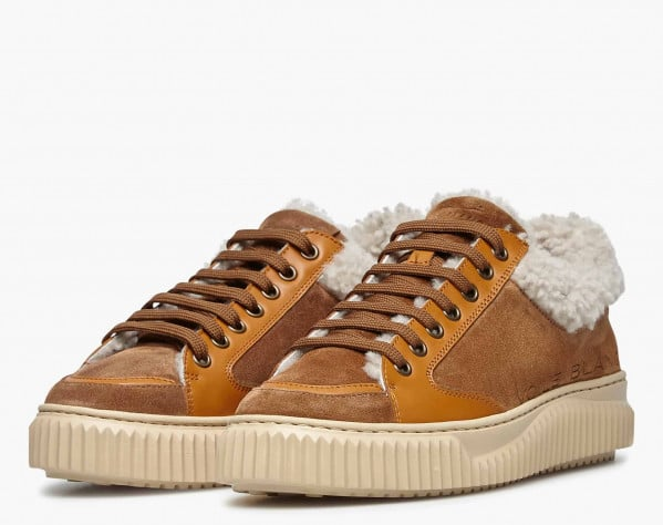 JENNY 02 - Natural shearling-embellished suede sneakers - Brown