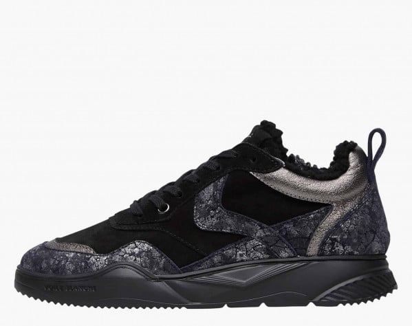 JOSHEE 04 FUR - Suede and crackled-look leather sneakers - Charcoal/Black