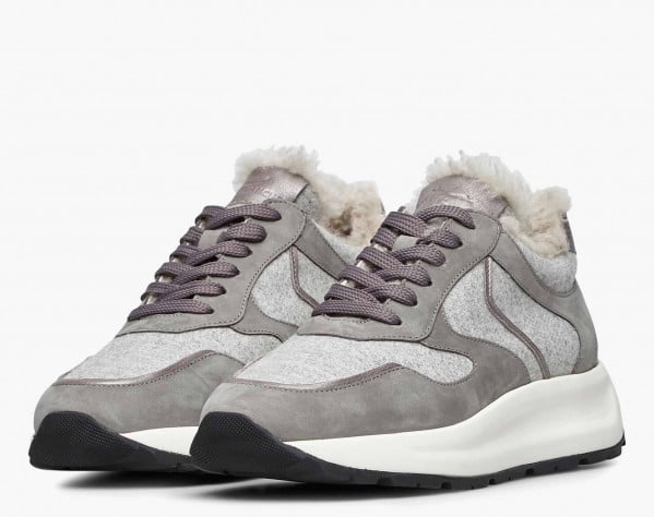 FLOWEE FUR - Shearling-lined Nubuck leather and felt sneakers - Grey/Black