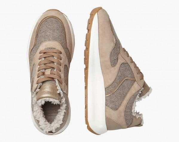 FLOWEE FUR - Shearling-lined Nubuck leather and felt sneakers - Beige/Platinum