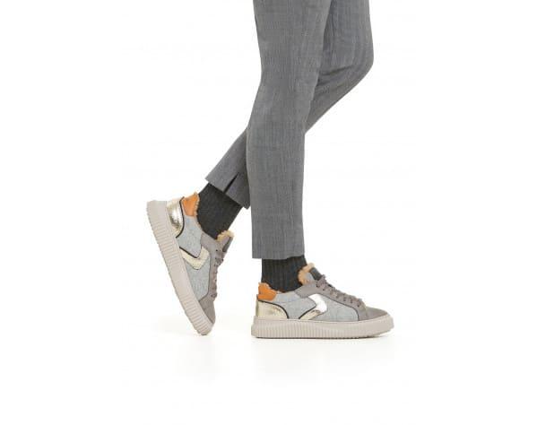 LIPARI FUR - Shearling-lined Nubuck leather and felt sneakers - Grey