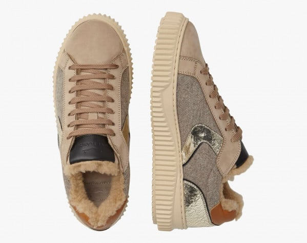 LIPARI FUR - Shearling-lined Nubuck leather and felt sneakers - Beige