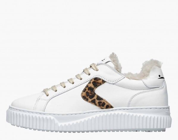LIPARI FUR - Shearling-lined calfskin sneakers with pony hair detail - White