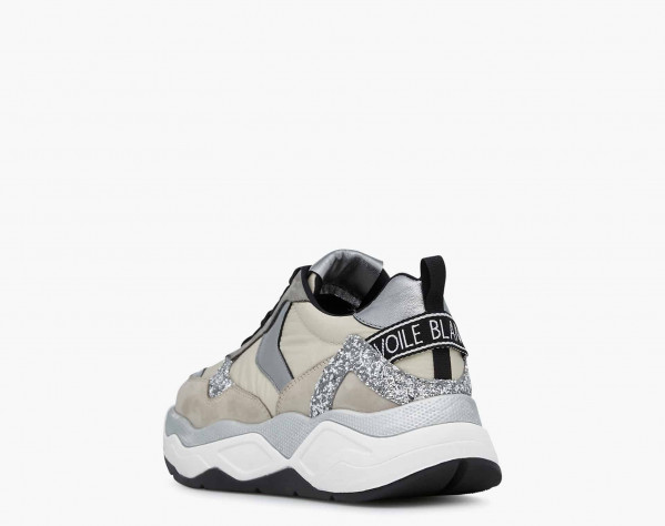 BEA 02 - Glitter fabric and Nubuck leather sneakers - Beige