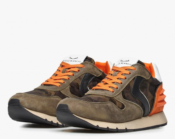 LIAM POWER - Vintage suede and technical nylon sneakers - Grey