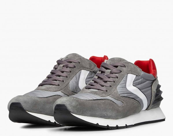 LIAM POWER - Vintage suede and technical fabric sneakers - Grey