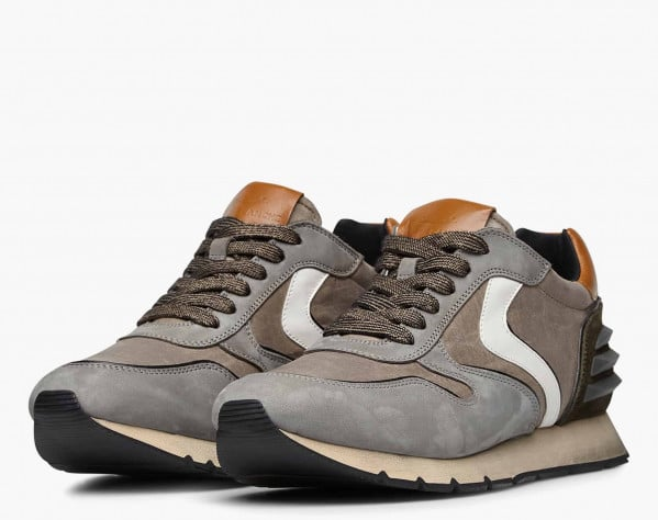 LIAM POWER - Nubuck leather and technical fabric sneakers - Army green