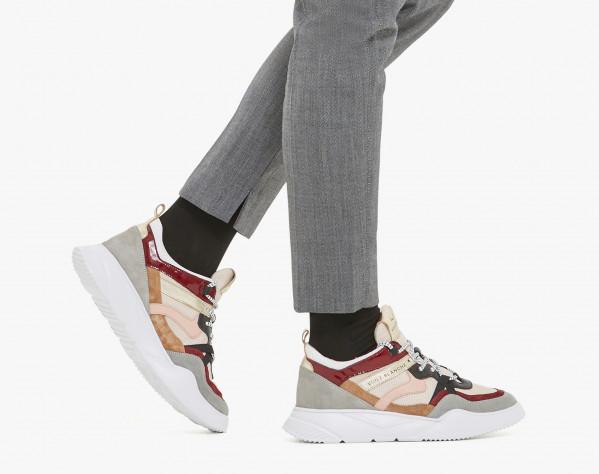 JULIET - Suede and micro-mesh sneakers - Grey