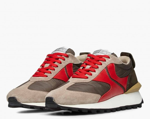 QWARK MAN - Technical fabric and suede sneakers - Grey