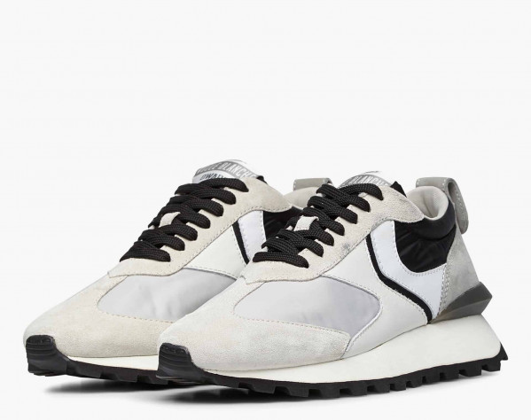 QWARK MAN - Technical fabric and suede sneakers - Ice