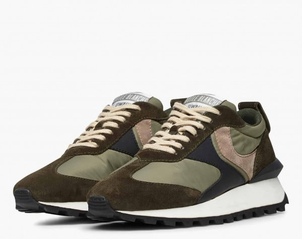 QWARK MAN - Technical fabric and suede sneakers - Army green