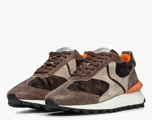 QWARK MAN - Camouflage technical fabric and vintage suede sneakers - Grey