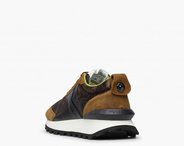 QWARK MAN - Camouflage technical fabric and vintage suede sneakers - Brown