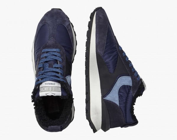 QWARK MAN FUR - Shearling-lined calfskin and fabric sneakers - Navy