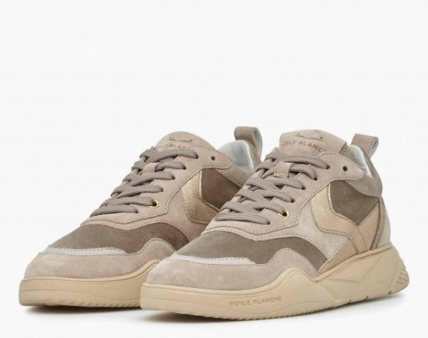 JOSHEE 04 - Suede and shiny calfskin sneakers - Beige