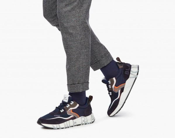CLUB01. - Suede and mesh sneakers - Navy