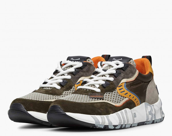 CLUB01. - Suede and mesh sneakers - Army green