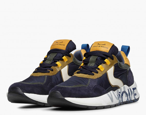 CLUB16. - Suede and technical fabric sneakers - Blue