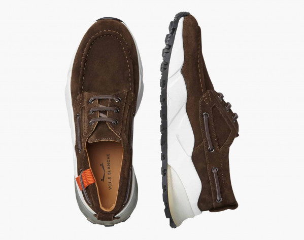 EXTREEMER GROS - Calfskin boat sneakers - Army green
