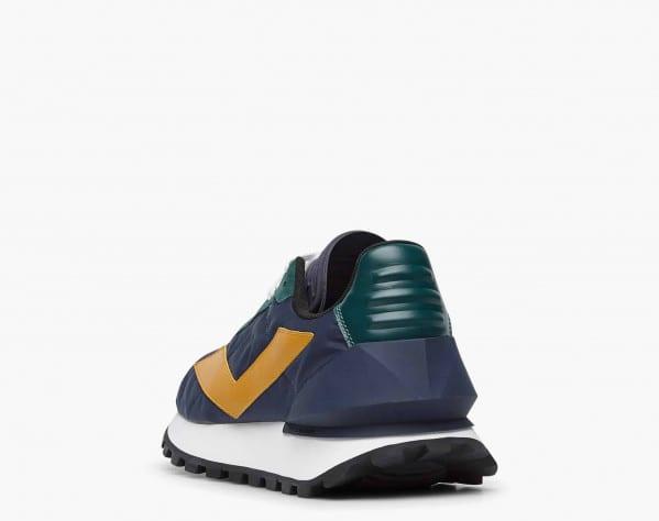 QWARK SPUR MAN. - Technical fabric and calfskin sneakers - Navy