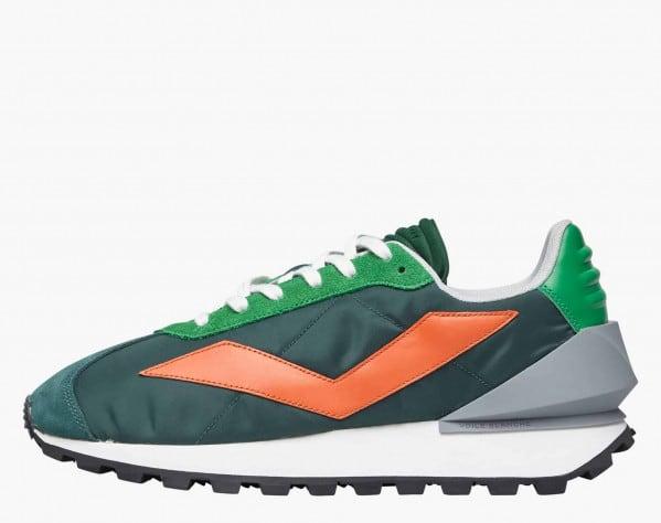 QWARK SPUR MAN. - Technical fabric and calfskin sneakers - Green