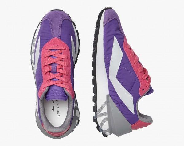 QWARK SPUR WOMAN. - Technical fabric and calfskin sneakers - Purple/Fuchsia
