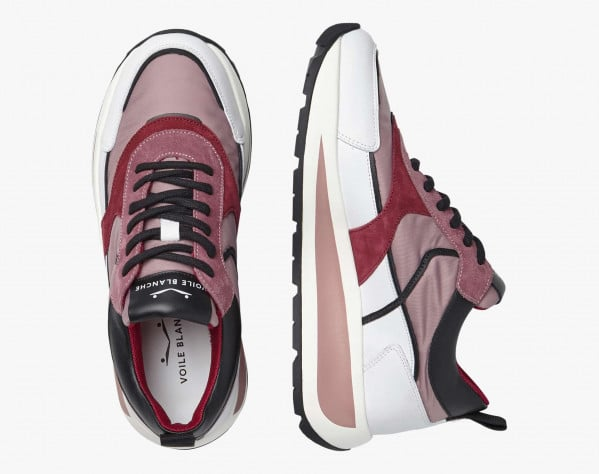 CLUB103. - Calfskin and technical fabric sneakers - White/Pink