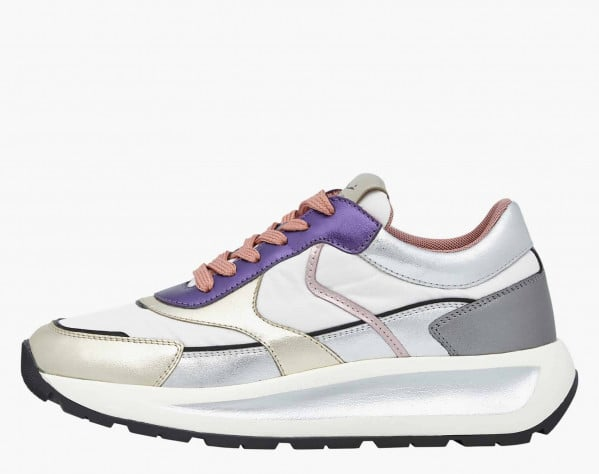 CLUB103. - Laminated calfskin and technical fabric sneakers - White/Purple