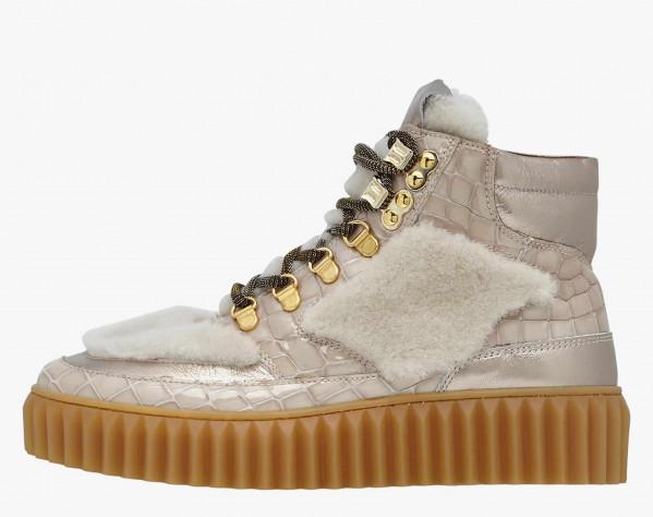 EVA HIKE - Shearling and crocodile-print leather boots - Beige