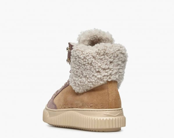 JENNY 03 HIGH - Suede and natural shearling high-top sneakers - Tobacco