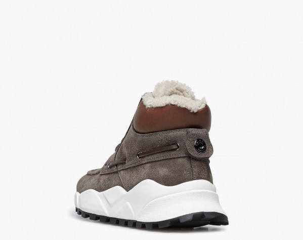 EXTREEMER HIGH FUR - Natural shearling-lined high-top sailor sneakers - Charcoal