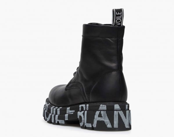 TWEED 02 - Printed-sole leather combat boots - Black