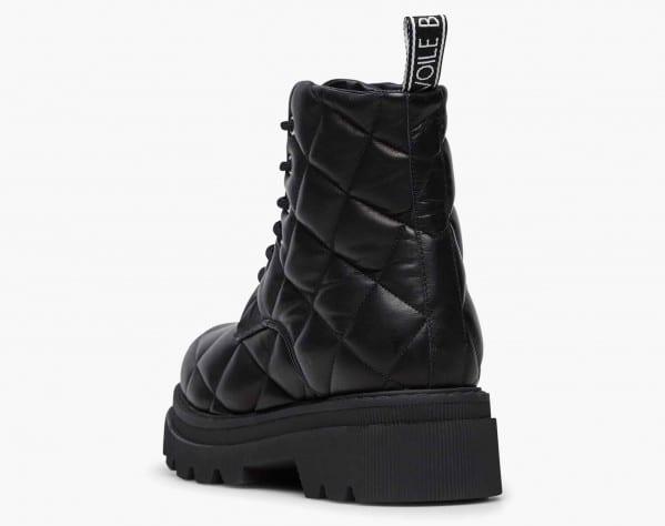 TWEED 033 - Matelassé leather combat boots - Black