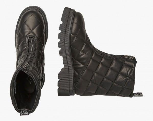 TWEED 032 - Matelassé leather combat boots - Black