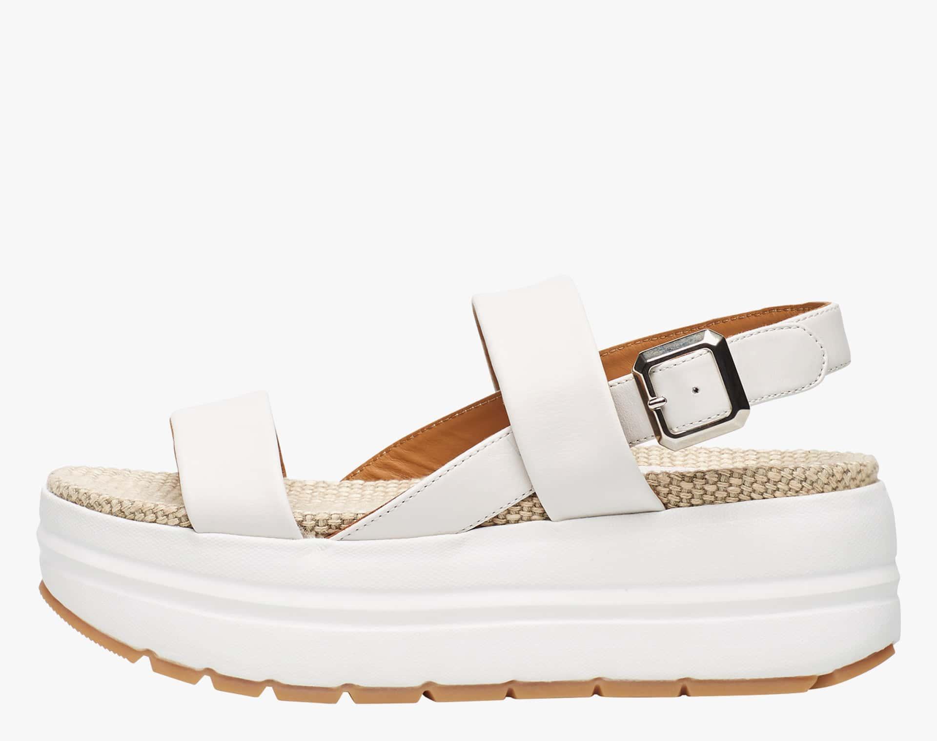 SULA EASY - Calfskin sandal with raffia insole - White