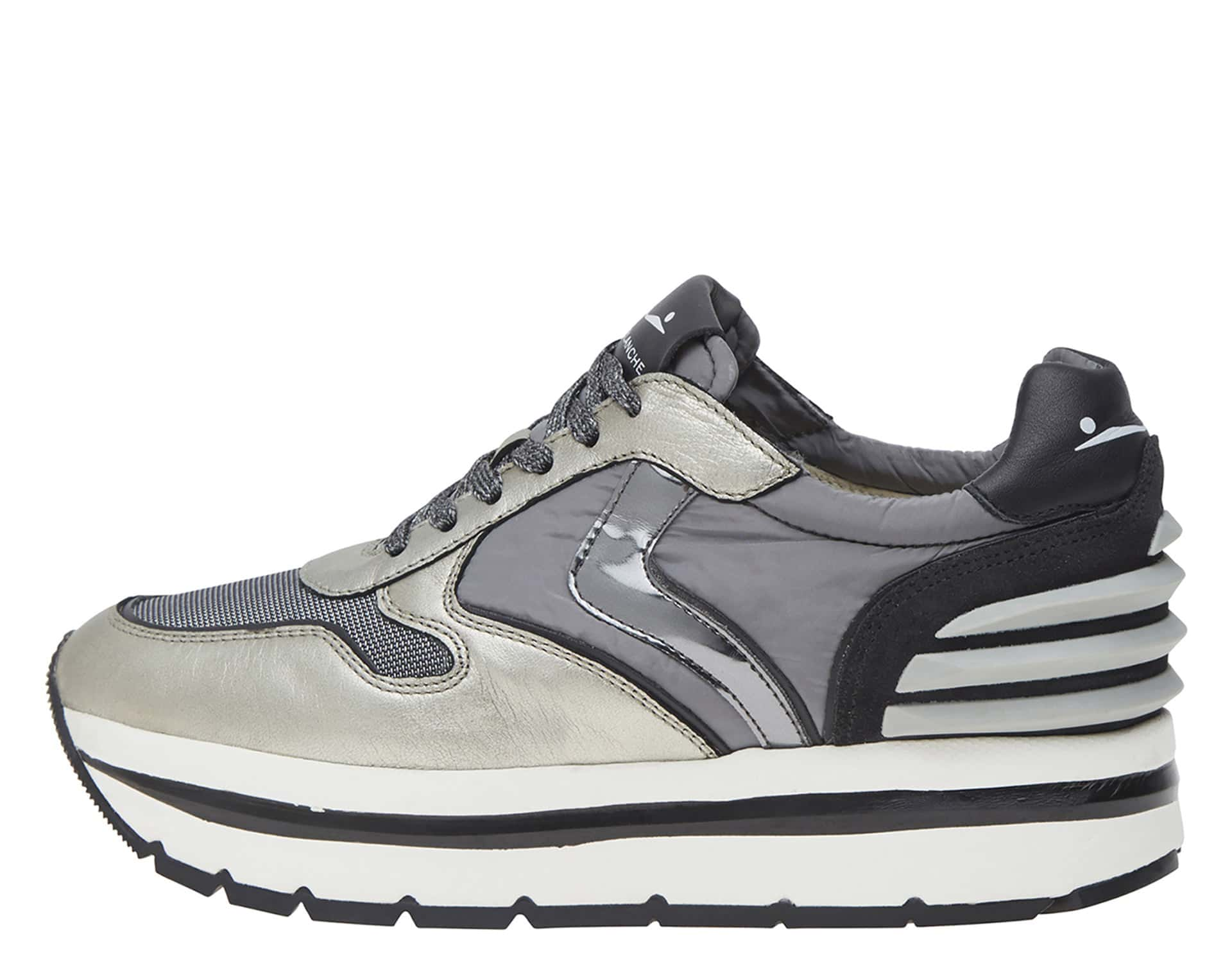 MAY POWER - LEATHER, MESH AND NYLON SNEAKERS - SILVER AND GREY