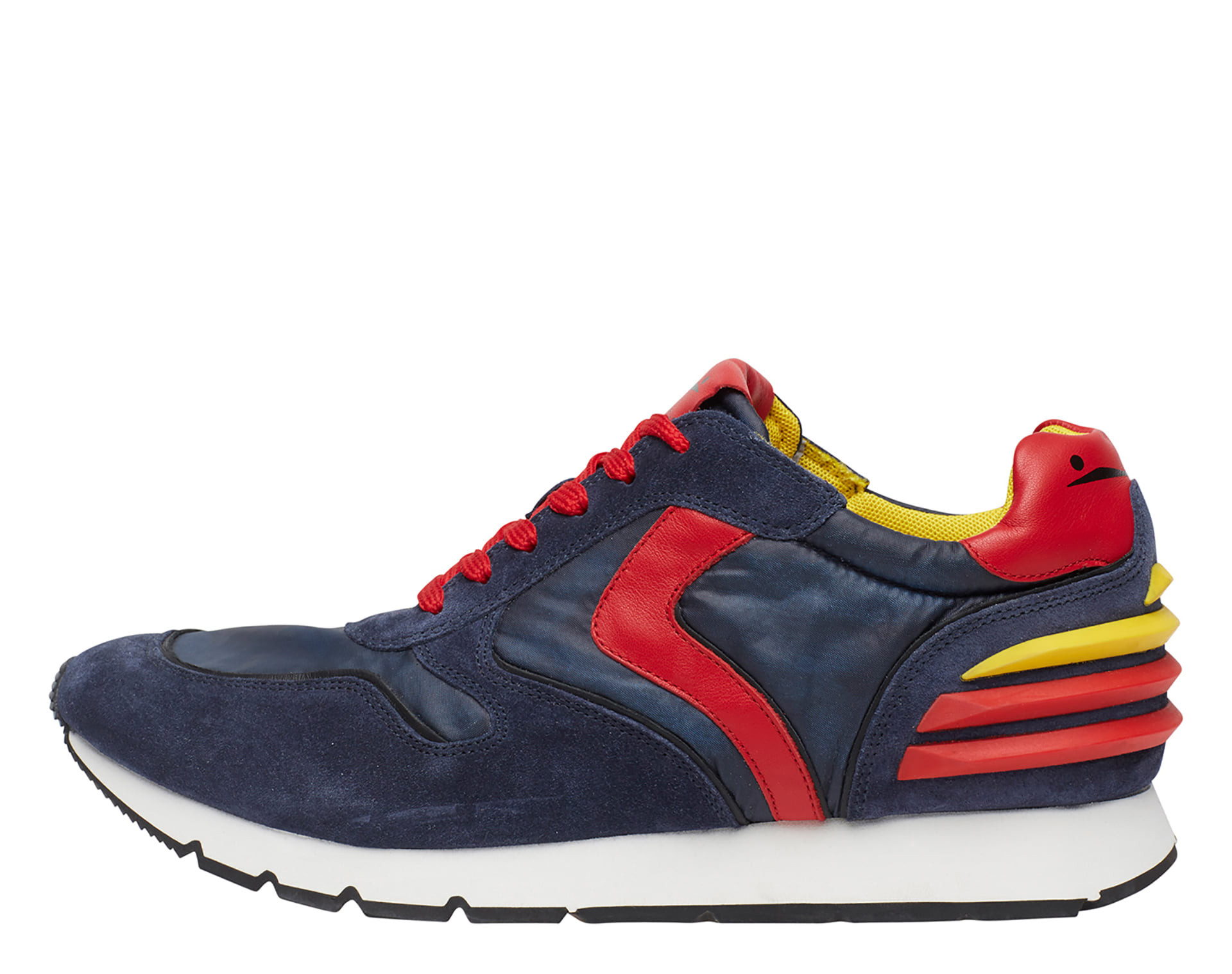LIAM POWER - Leather and nylon sneakers - Indigo blue