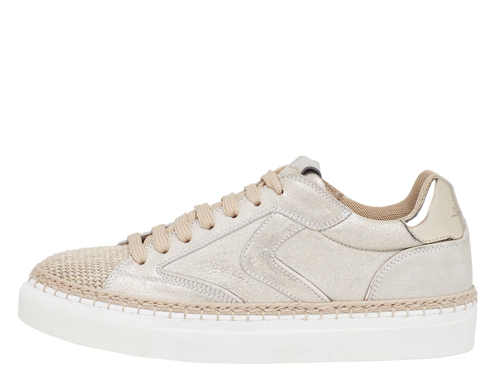 NEW TROPEA - Leather and rope sneakers - Platinum