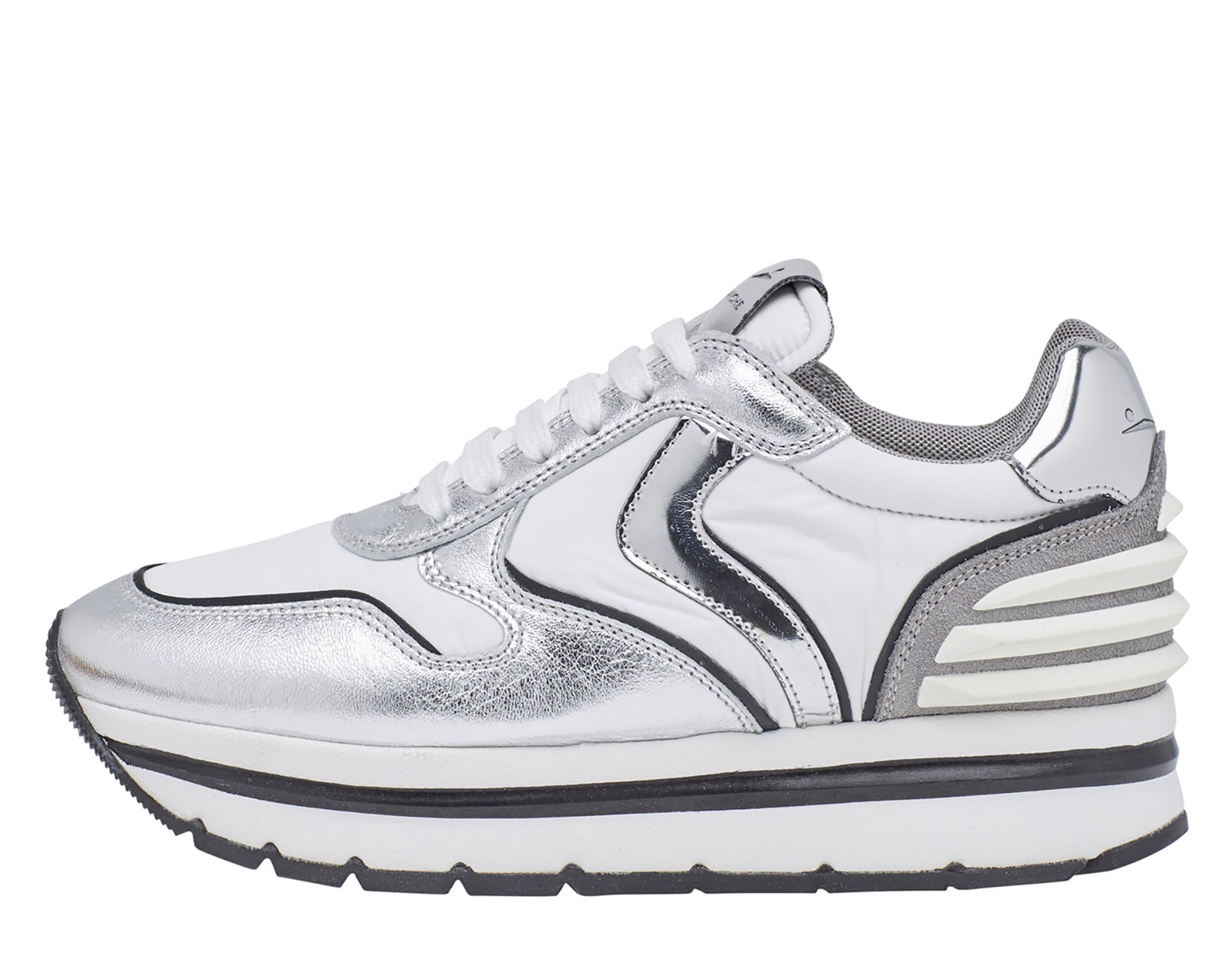 MAY POWER - Leather and fabric sneakers - White/Silver