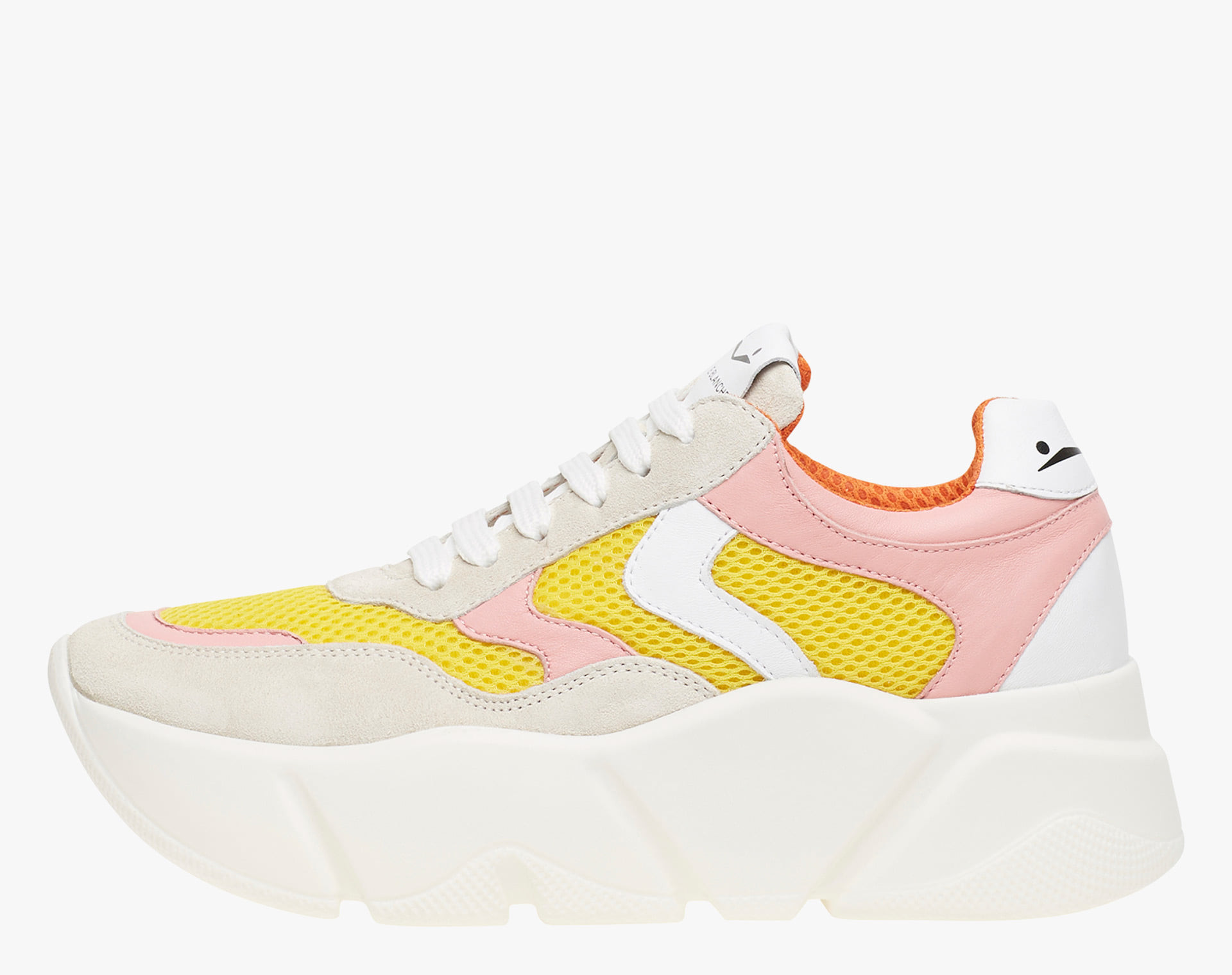 MONSTER - Sneakers with a maxi sole and mesh inserts - Cream/Pink/Yellow