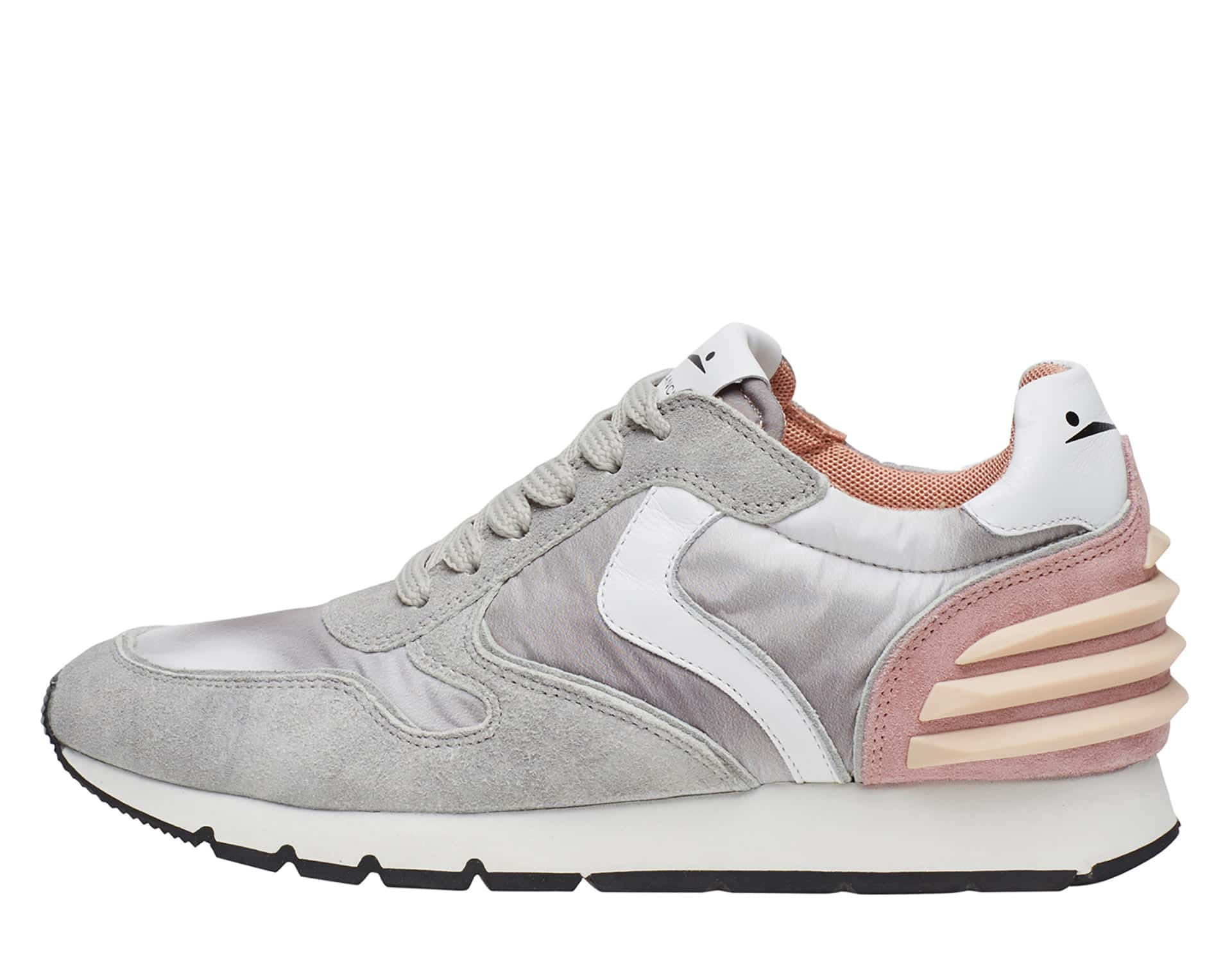 JULIA POWER - Leather and nylon sneakers - Ice Grey/Grey/Pink